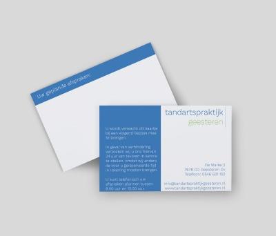 Afspraakkaartjes Tandartspraktijk Geesteren